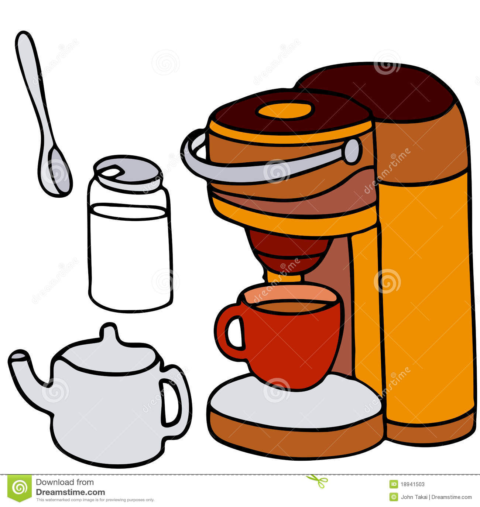 Cartoon Coffee Maker ~ Single serving coffee machine stock vector illustration