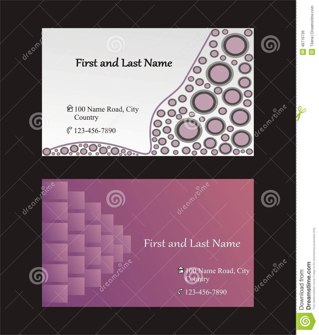 Single Sided Business Cards Template Stock Vector Illustration - Two sided business card template