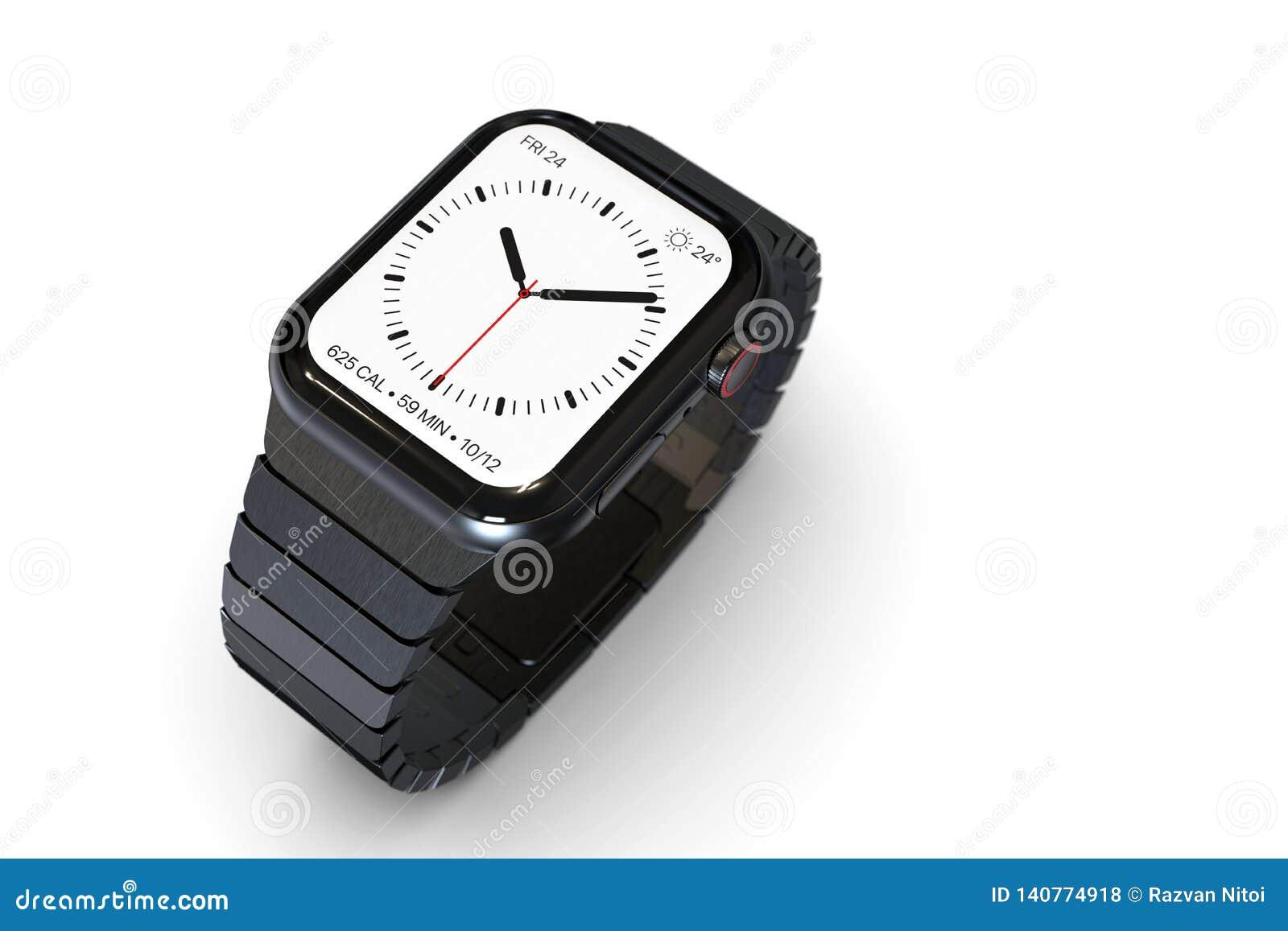Apple Watch 4 Style Smartwatch Device, Metal Bracelet Stock