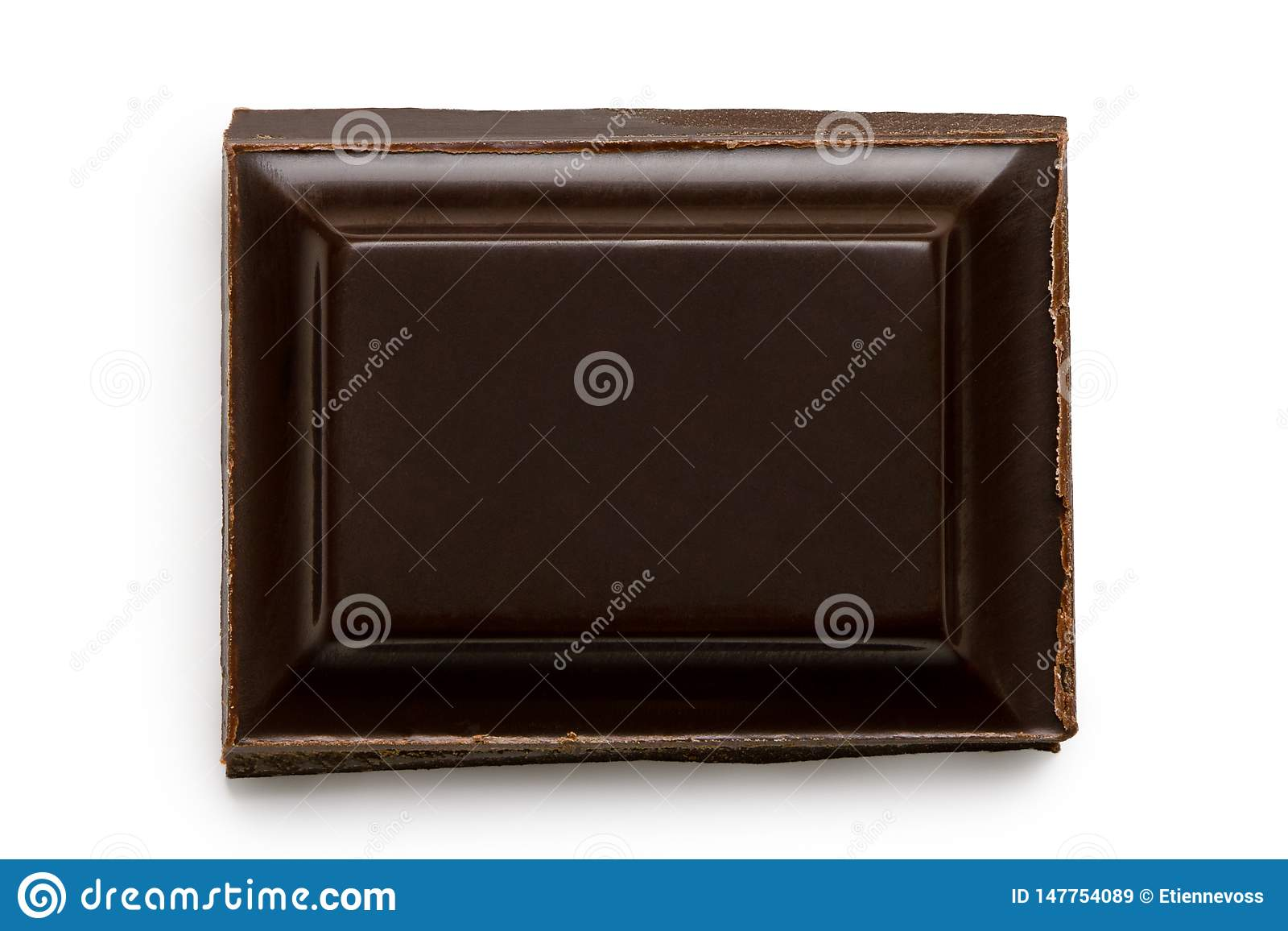 Single square of dark chocolate isolated on white from above