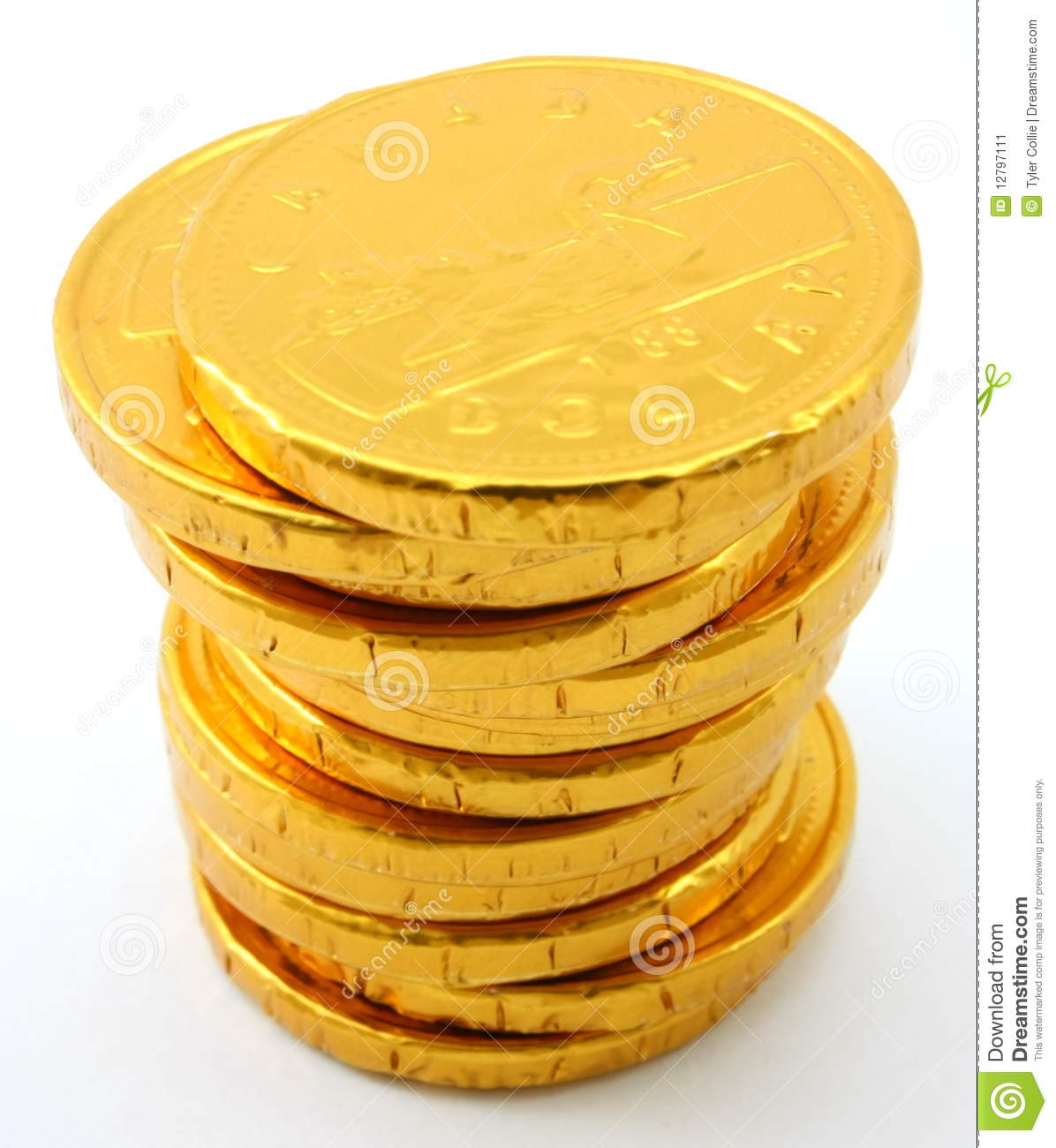 Single Stack Of Chocolate Gold Coins Stock Image - Image: 12797111