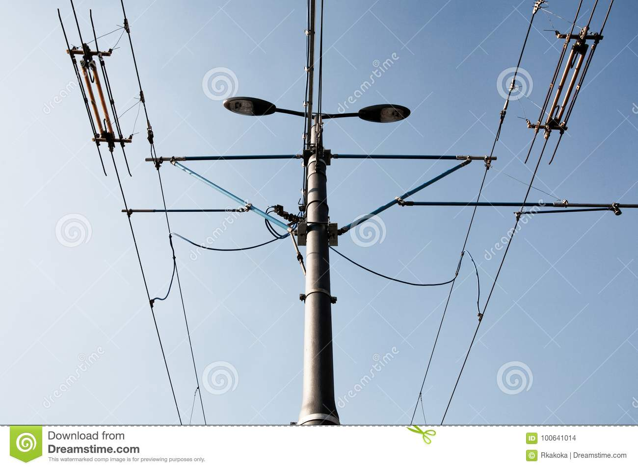 Single Street Lamp And Electric Wires Stock Photo - Image of lamp ...