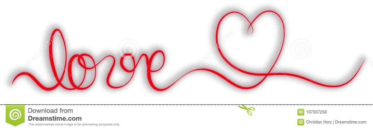 Single Stroke Red Ribbon Banner With Word Love And Heart Royalty Free Il Ration Download