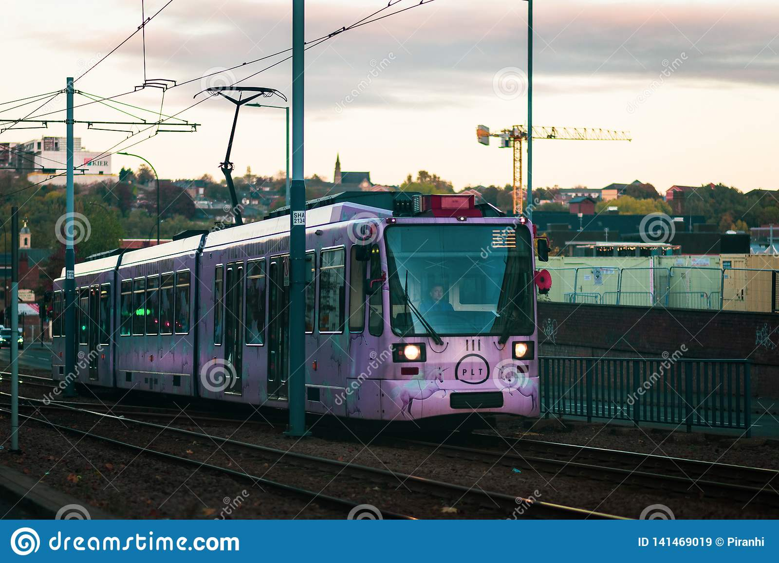 Sheffield, UK - 20th October 2018: One of Sheffields new Pink trams runs through the city