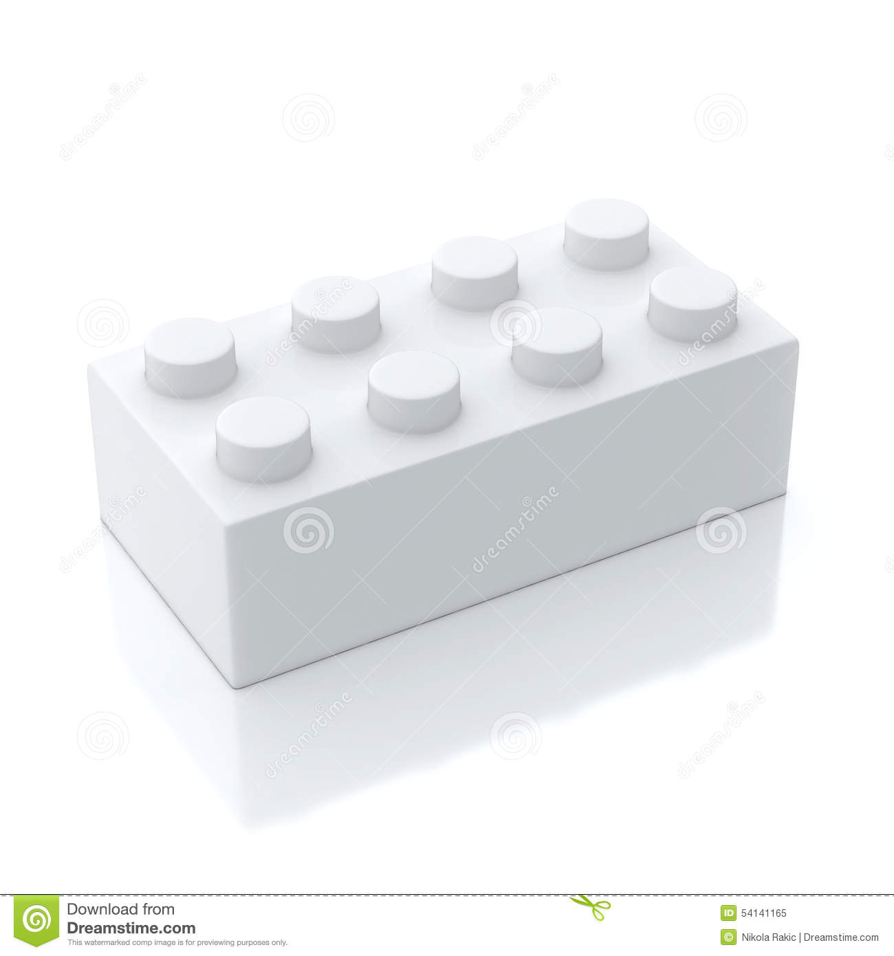 Single white building block isolated on background