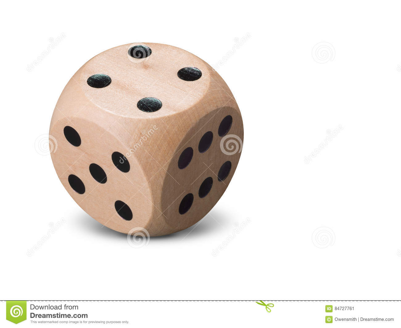 Single wooden Dice on white background