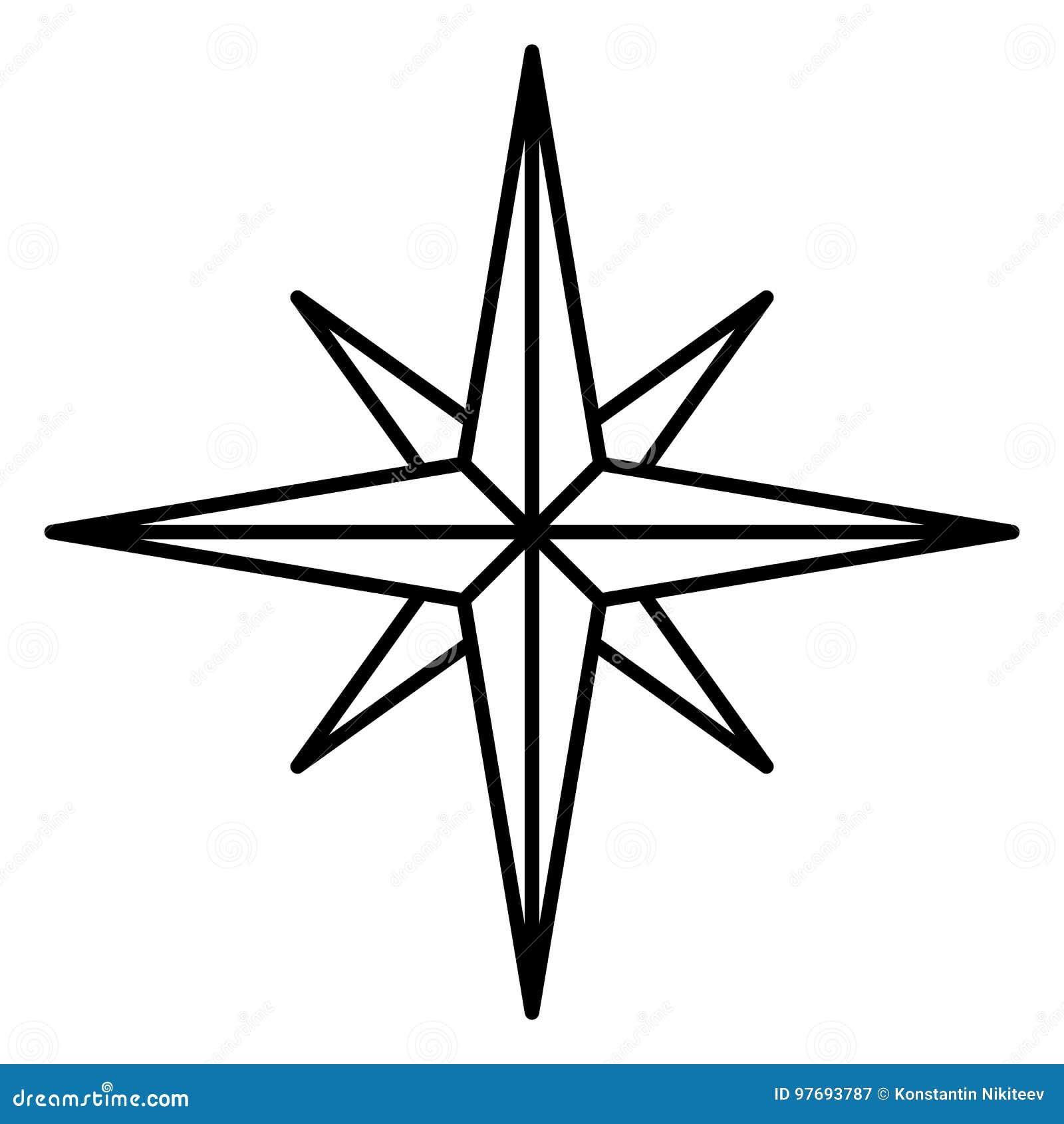 Singola Icona Di Vettore Rosa Dei Venti Classica Illustrazione Vettoriale Illustrazione Di Marchio Icona 97693787