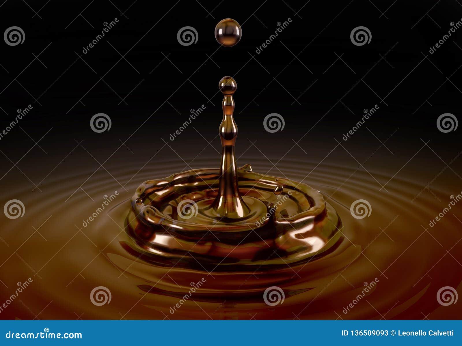 Singola spruzzata liquida di goccia del caffè nello stagno del caffè