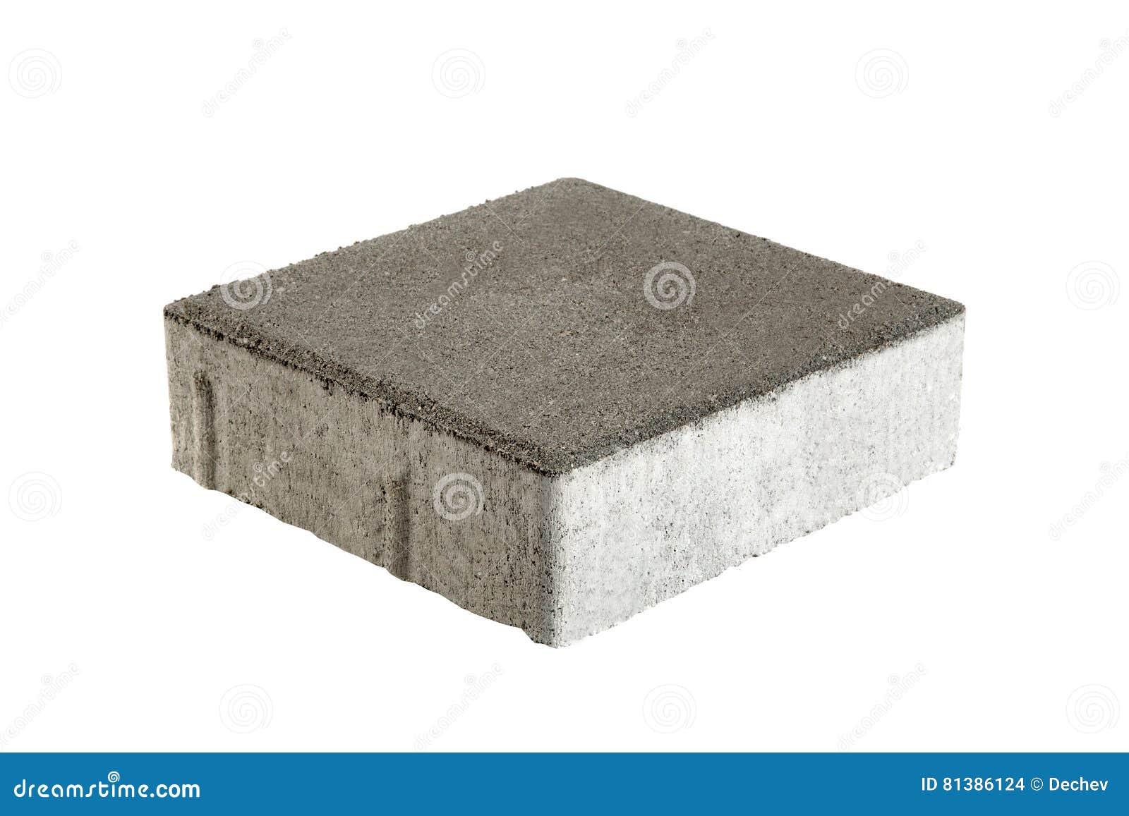 Singolo mattone della pavimentazione, isolato Blocco in calcestruzzo per pavimentare