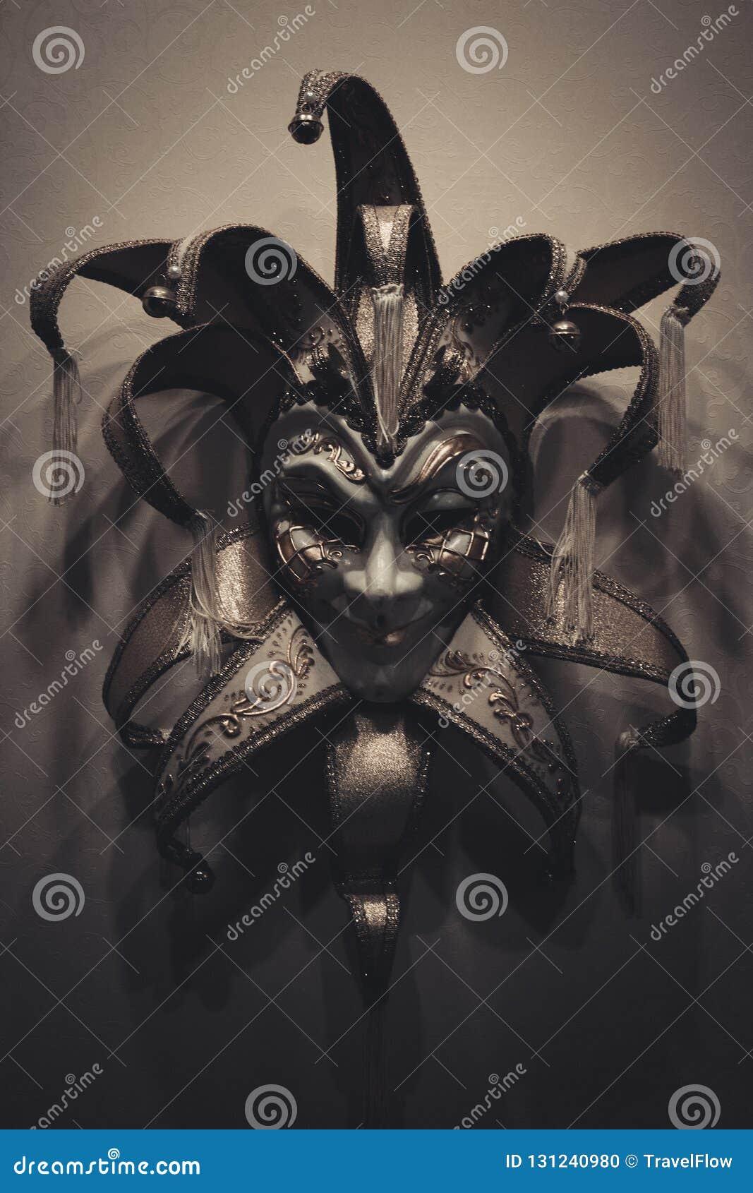 Sinister Joker Mask On Dark Background Stock Photo Image Of Black