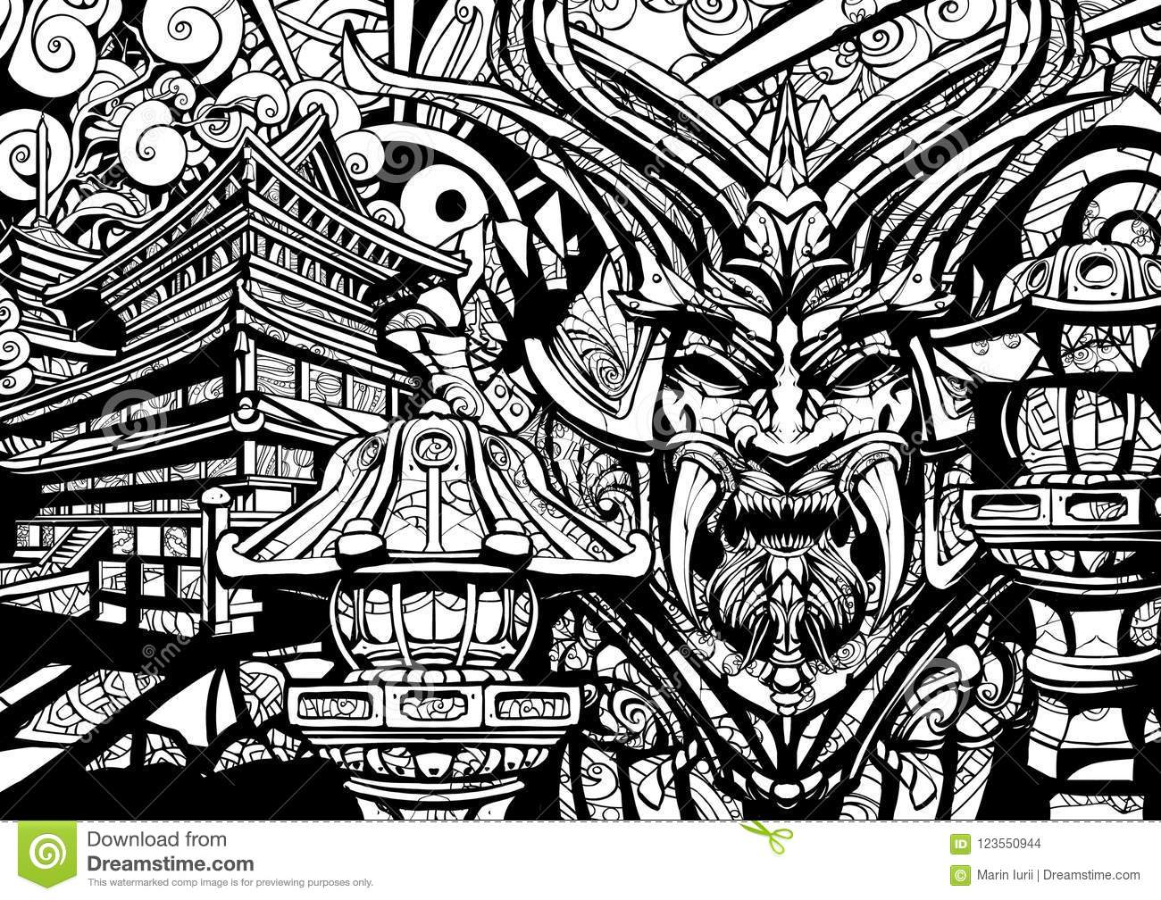 Sinister Samurai Mask With Fangs Stock Illustration Illustration Of Abstract Culture 123550944