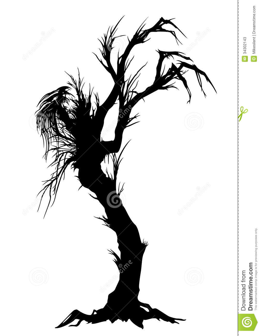 Sinister Tree Silhouette Stock Vector Image Of Devil