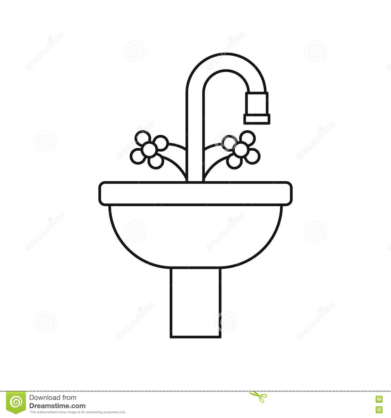 Sink in the bathroom icon outline style stock vector for Decor outline