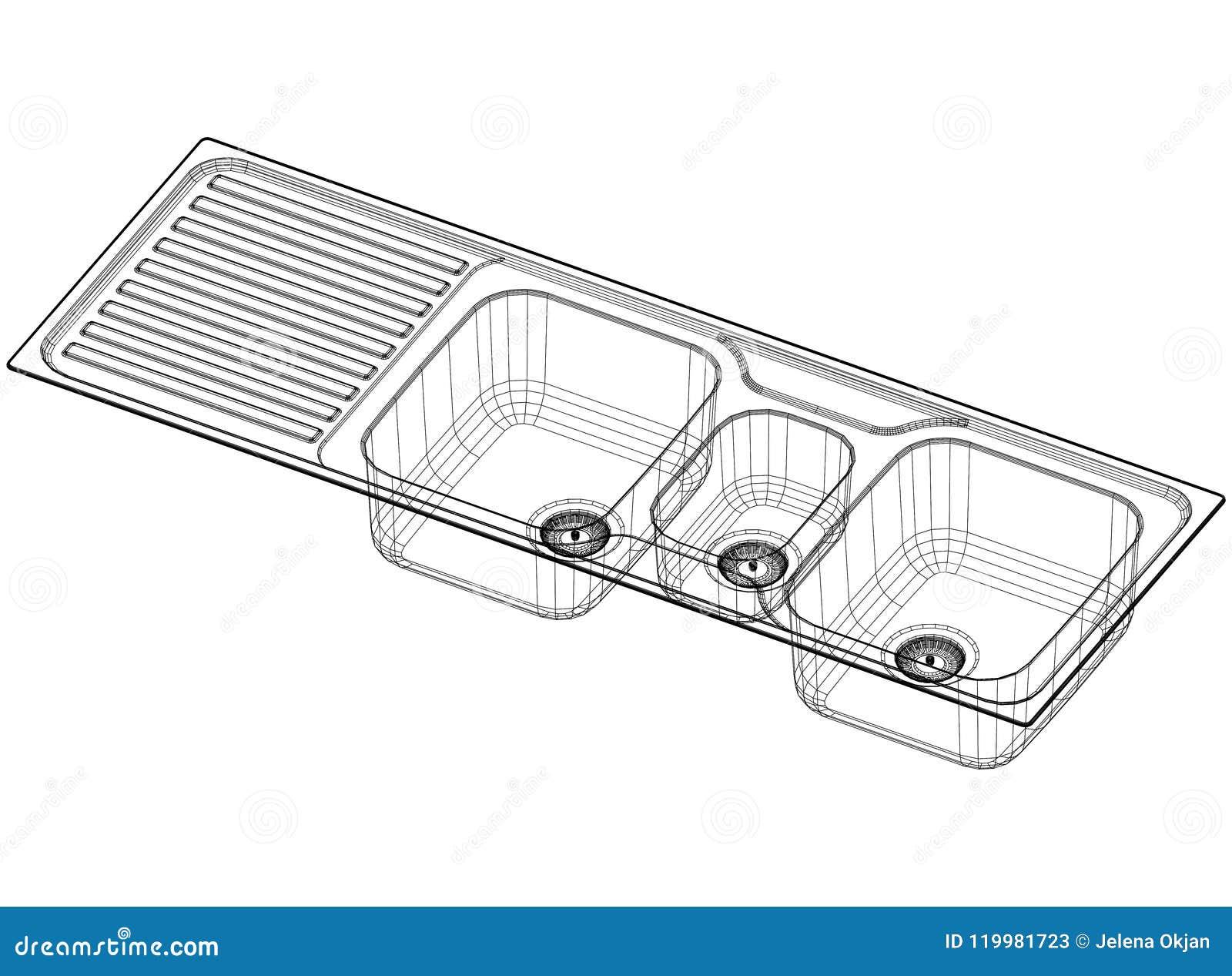 Sink Concept Architect Blueprint Isolated Stock Illustration