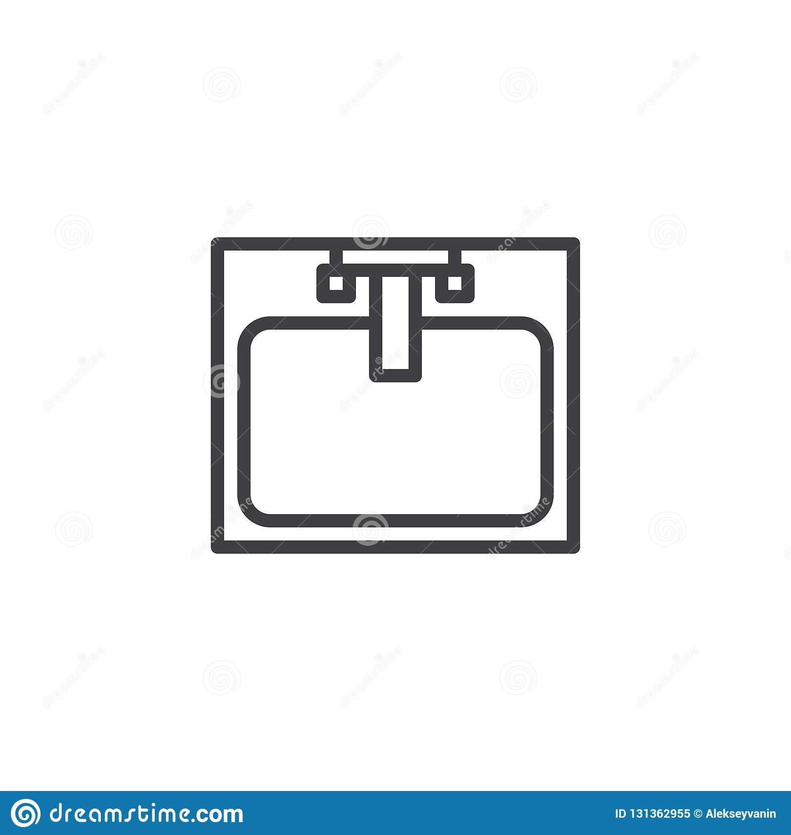 Kitchen Sink Drawing: Sink With Faucet Top View Outline Icon Stock Vector