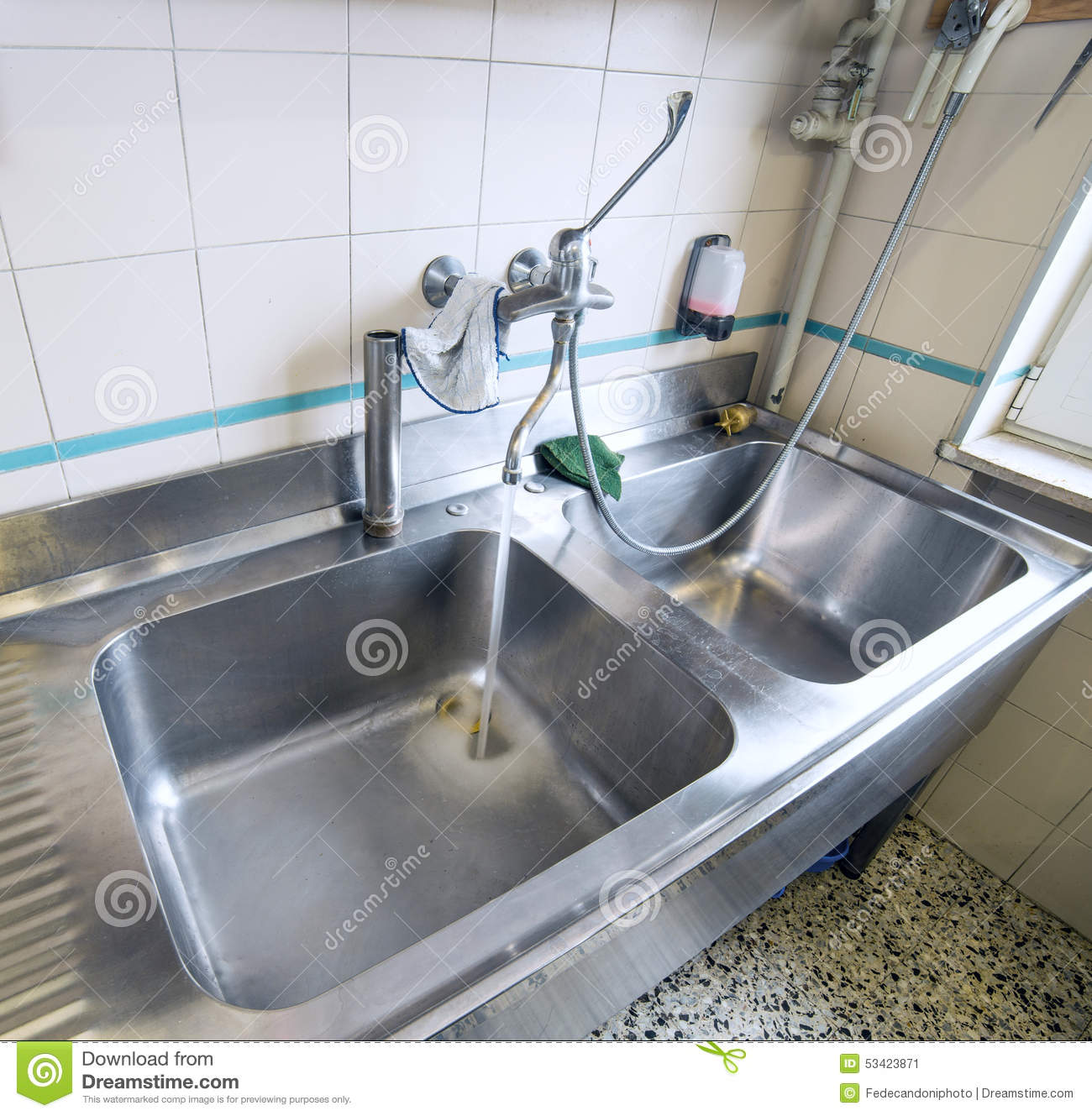Sink Stainless Steel Industrial Kitchen With Tap Stock Image Image