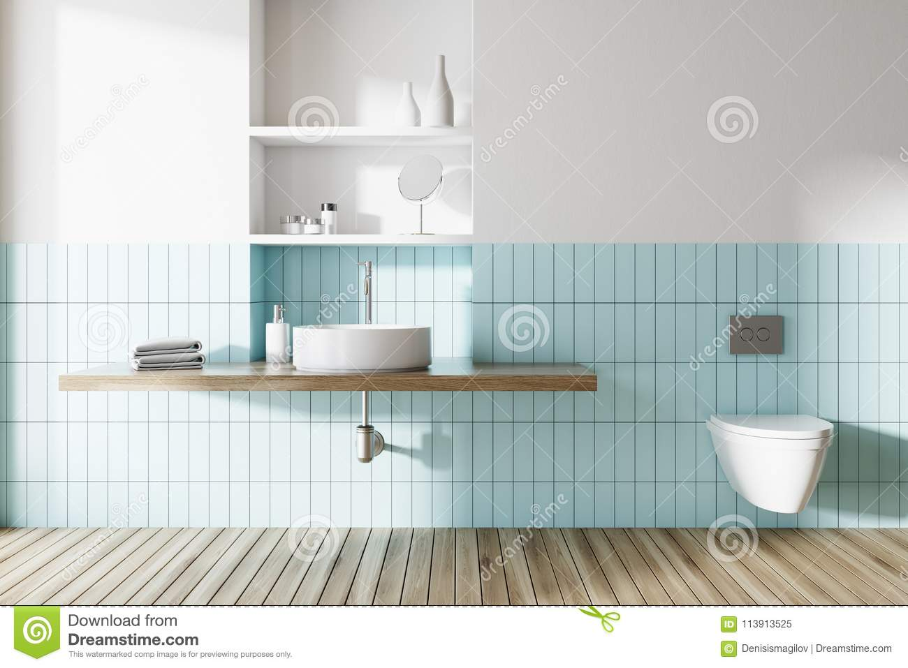 Sink And Toilet In A Blue And White Bathroom Stock Illustration