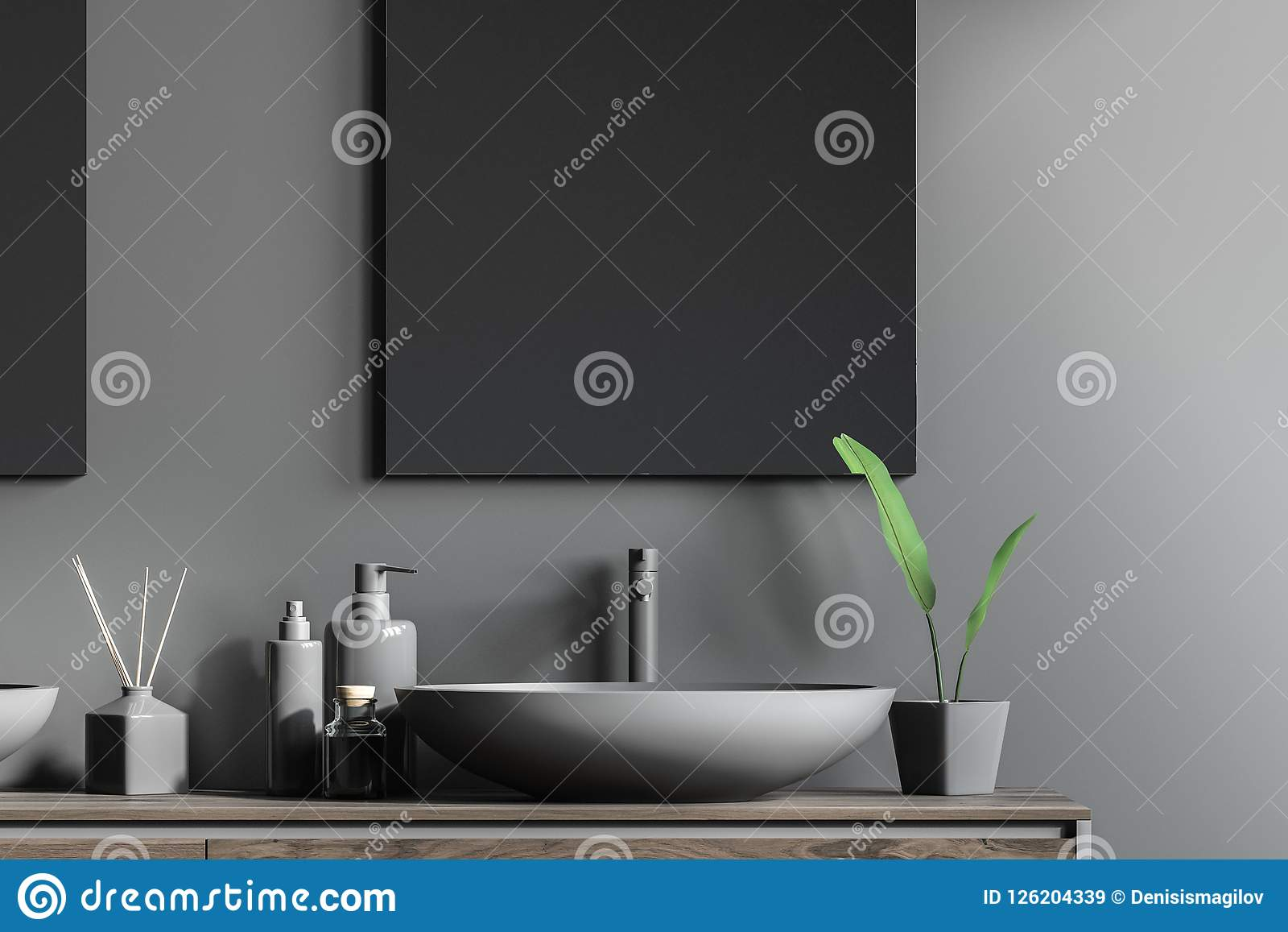 Sink On Wooden Vanity Unit Vertical Mirror Grey Stock Illustration Illustration Of Display Cozy 126204339