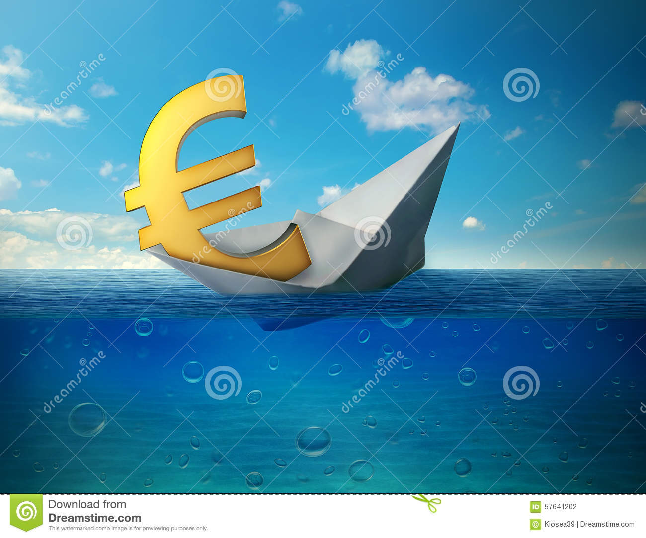 Sinking euro currency symbol with paper boat floating in ocean stock sinking euro currency symbol with paper boat floating in ocean buycottarizona Choice Image