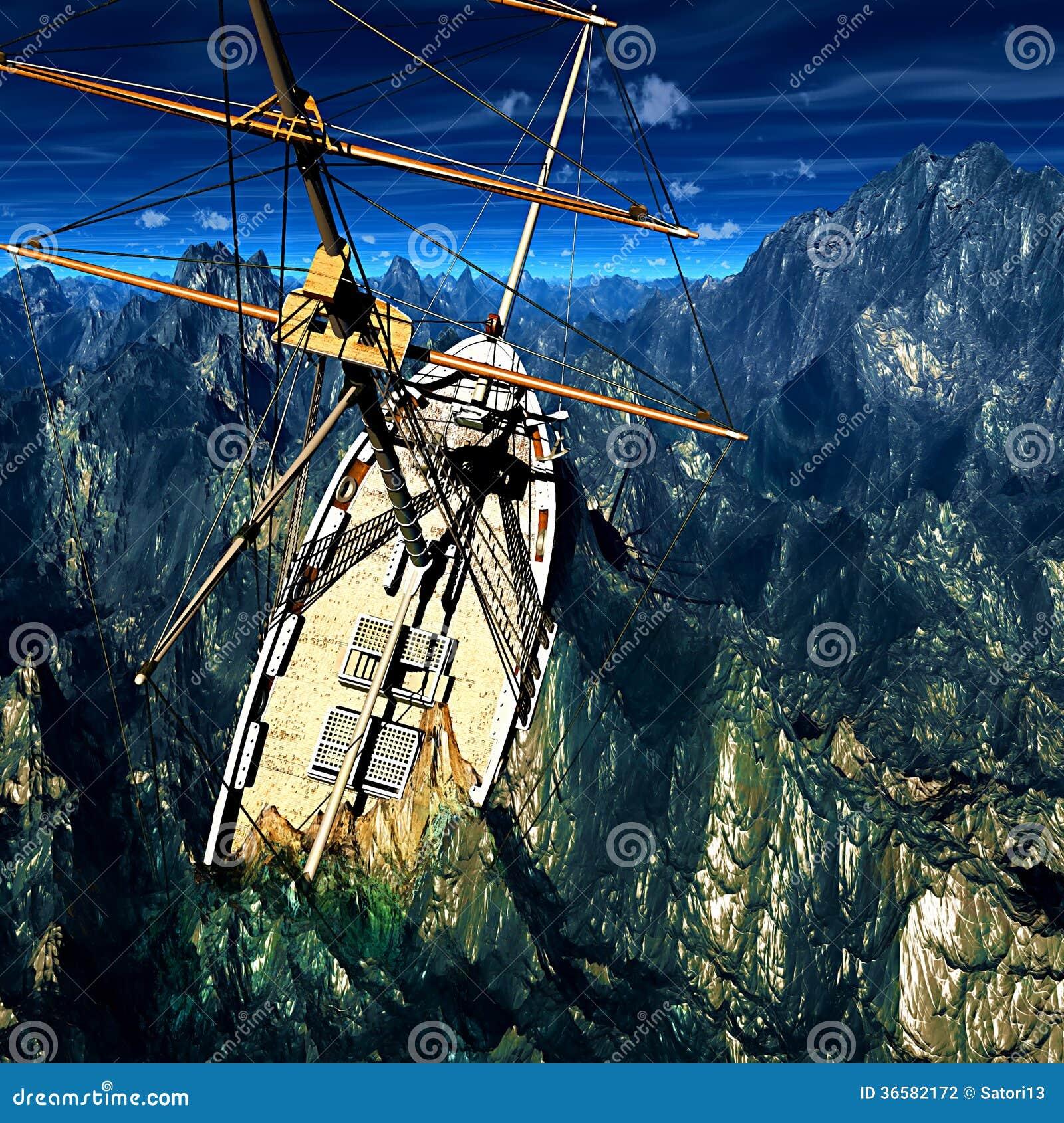 Sinking Pirate Brigantine Stock Photo Image Of Freedom 36582172