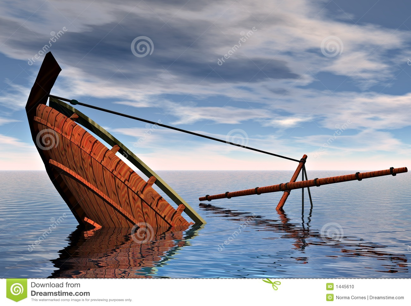 Sinking ship stock illustration. Image of stunning, summer - 1445610