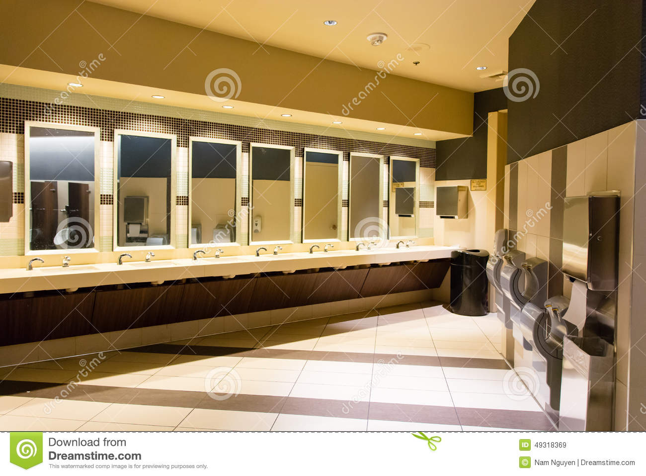 Sinks And Hand Dryers In Public Restroom Stock Image