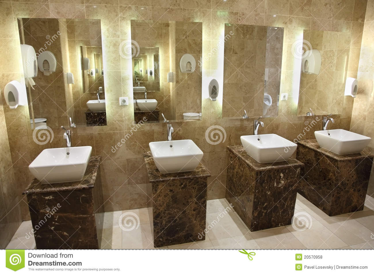 Sinks and mirrors in public restrooms stock photo image - Espejos para lavabos ...