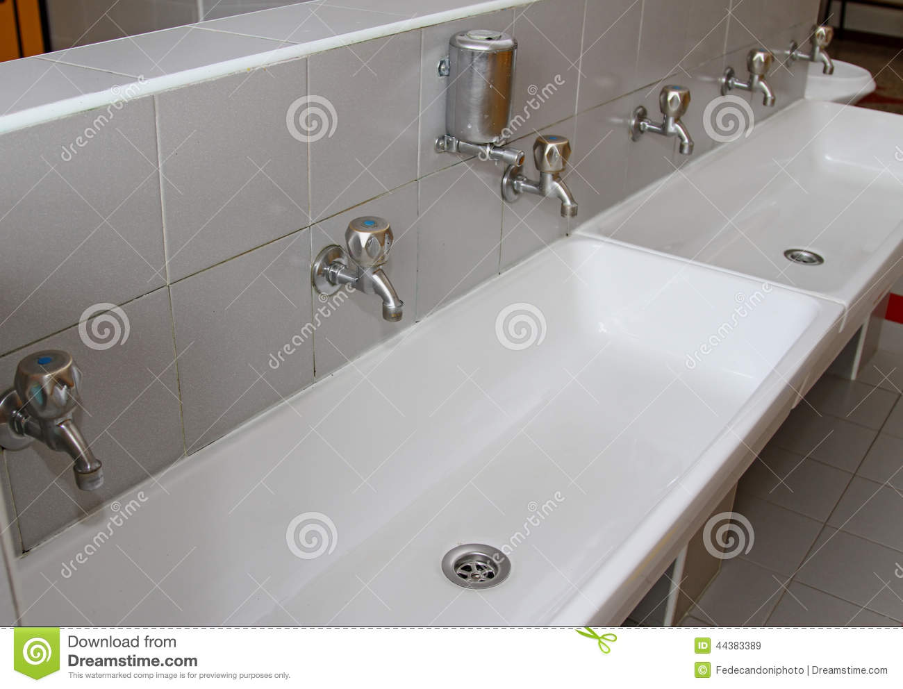 preschool bathroom sink. Download Sinks And Washbasins With Taps In The Toilets Of A Nursery Stock  Image - Preschool Bathroom Sink K