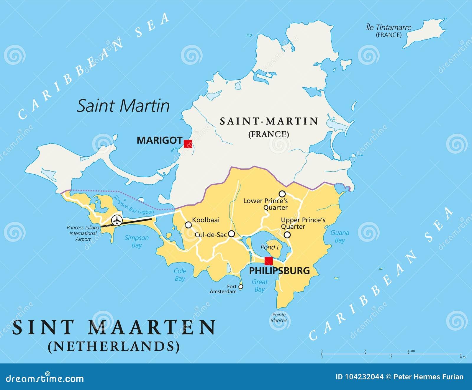 Sint Maarten Political Map stock vector. Illustration of cruise ...