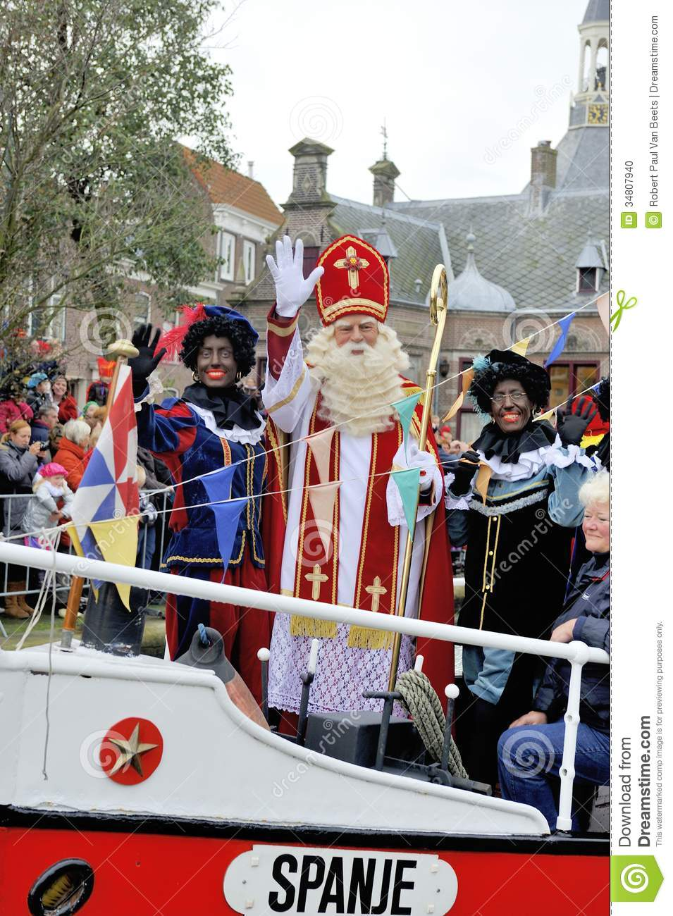 sinterklaas arriving on his steamboat with his black. Black Bedroom Furniture Sets. Home Design Ideas