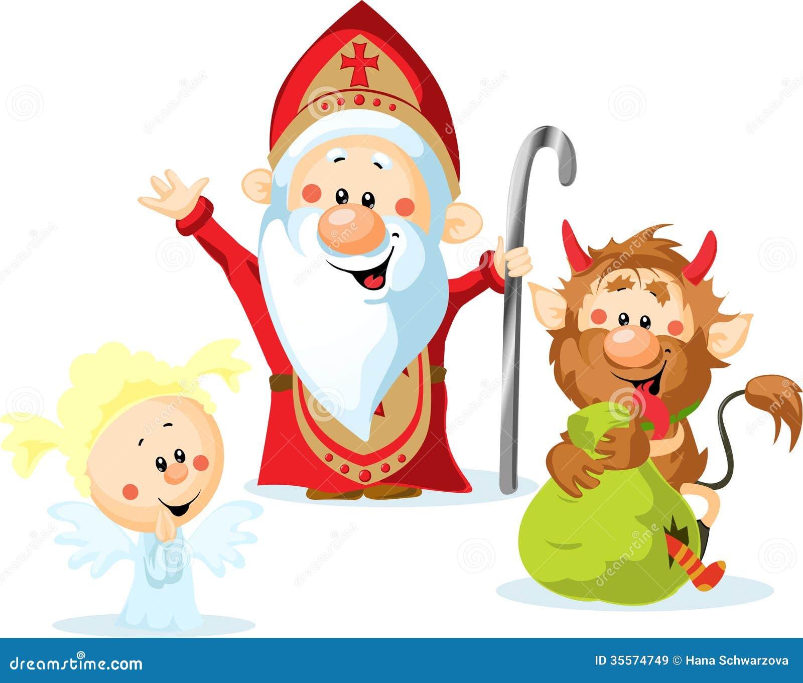 Sinterklaas Duivel En Engel Vector Illustratie