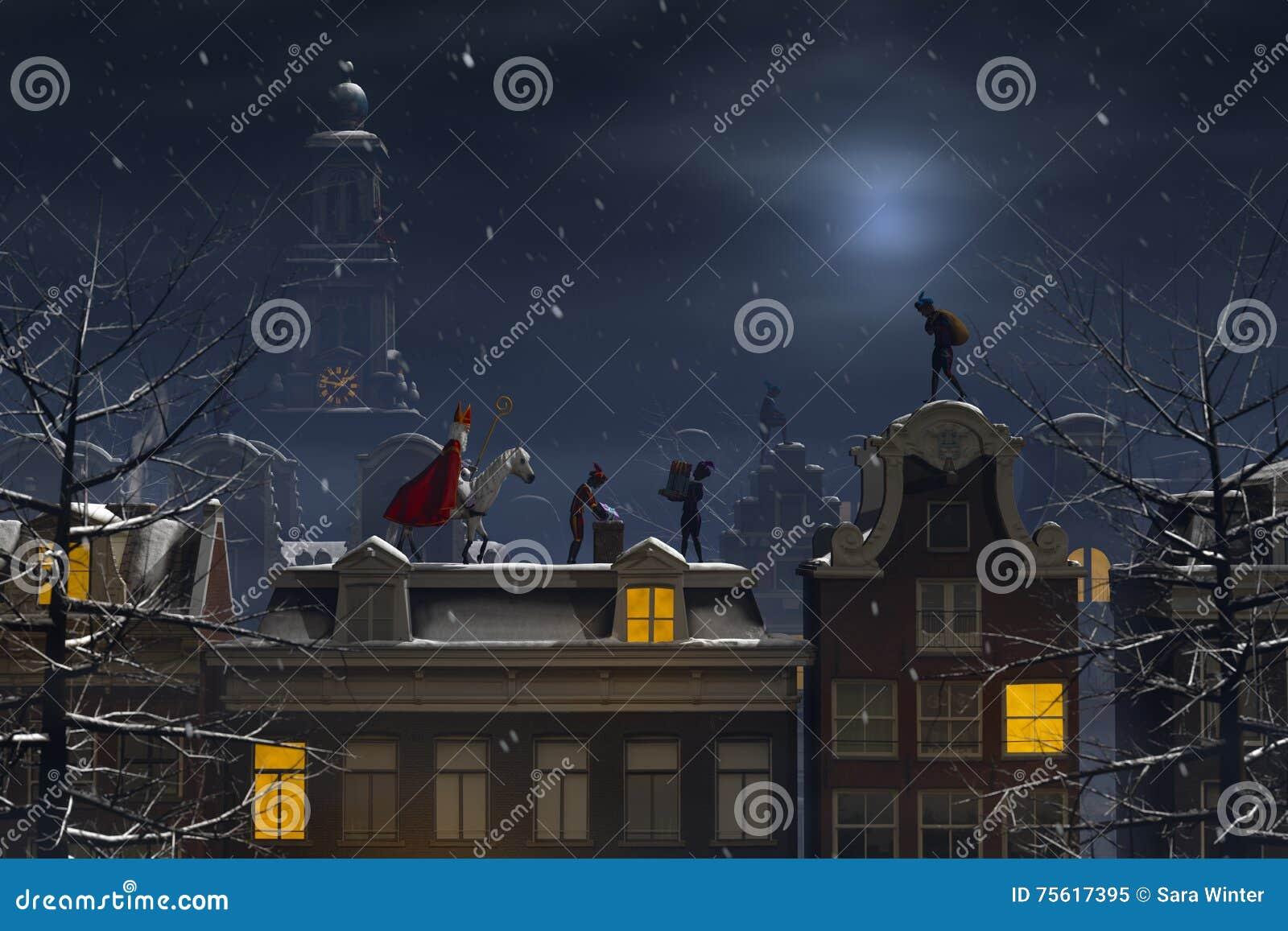 Sinterklaas en pieten op de daken bij nacht stock illustratie afbeelding 75617395 - Daken en volumes ...