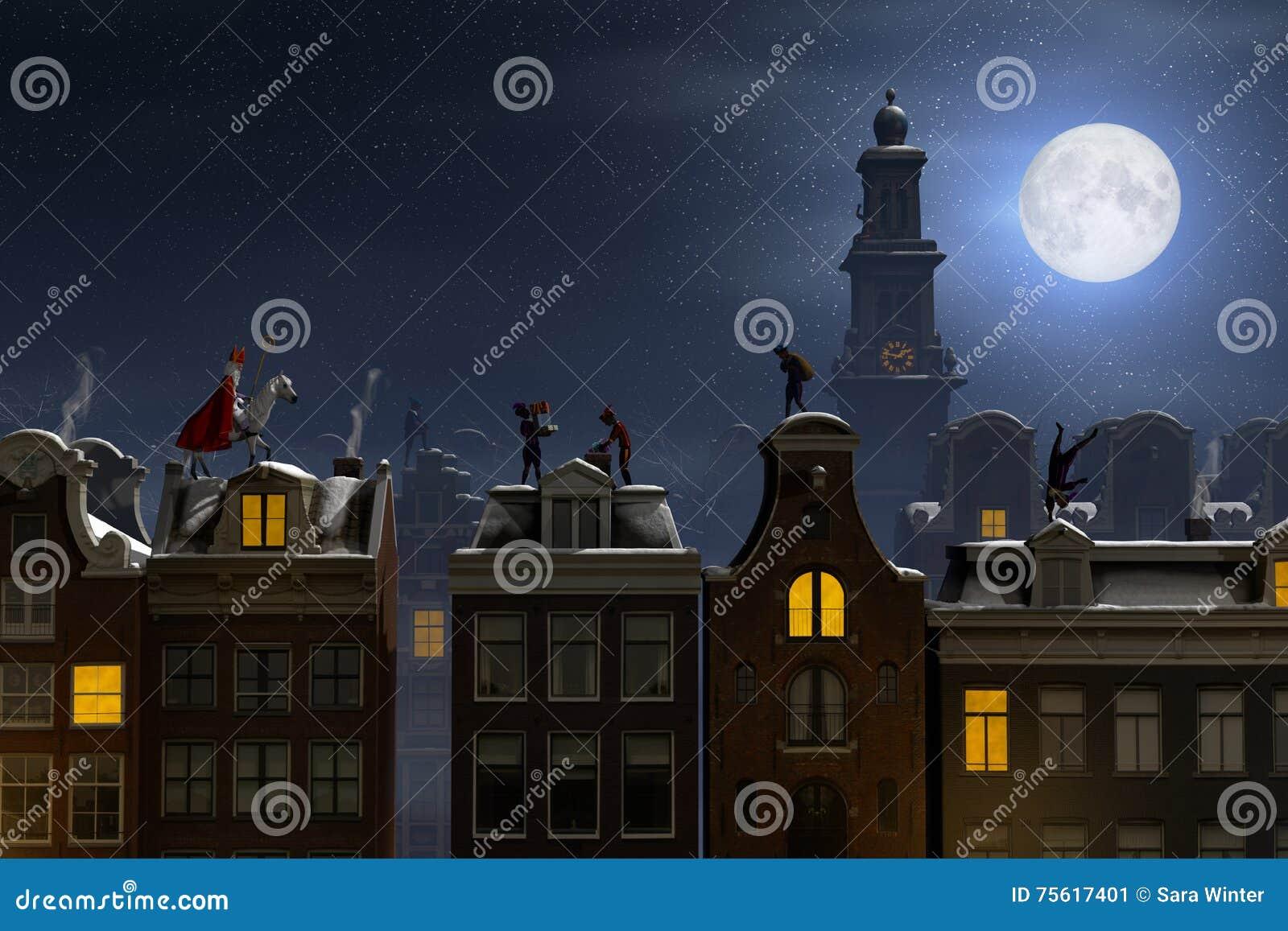 Sinterklaas en pieten op de daken bij nacht stock illustratie afbeelding 75617401 - Daken en volumes ...