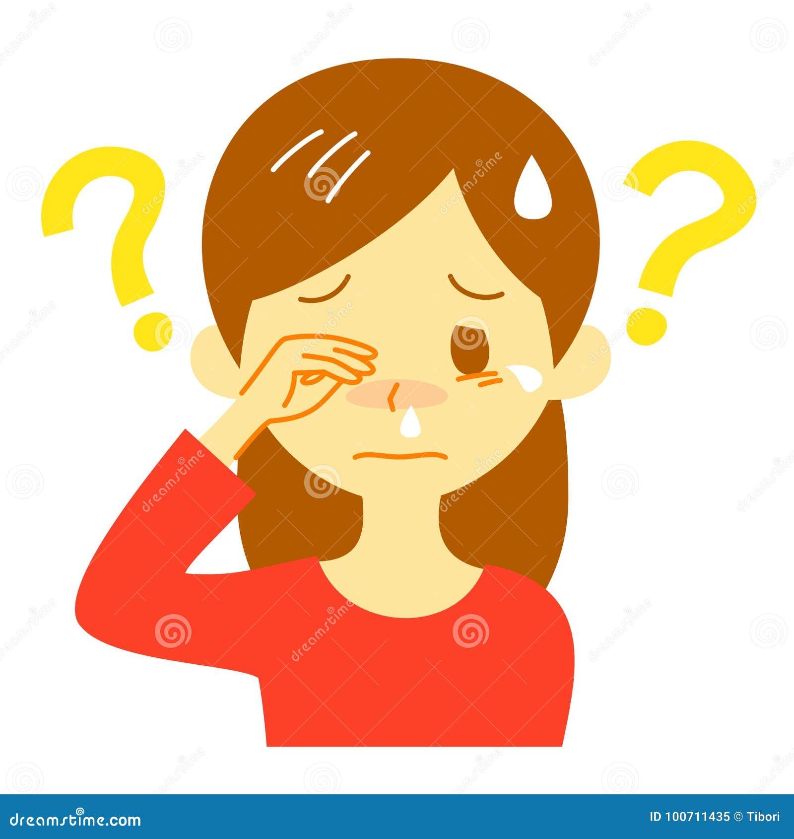Sintoma da alergia, causa desconhecida, mulher de pensamento
