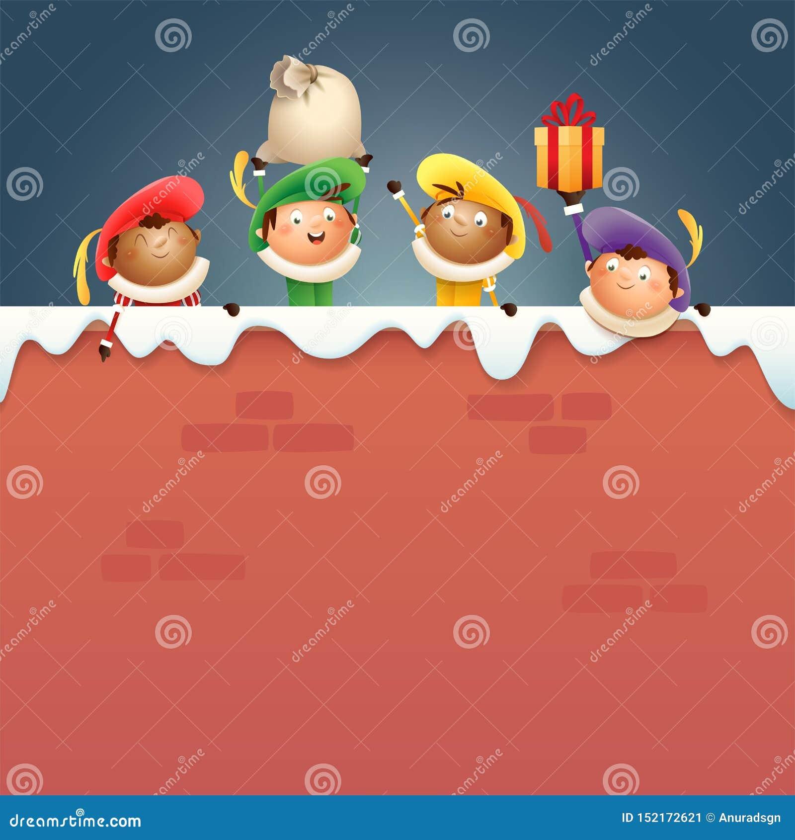 Sintrklaas-Helfer Zwarte Piet an Bord - glückliche nette Charaktere feiern niederländischen Feiertag auf schneebedeckter Wand - d