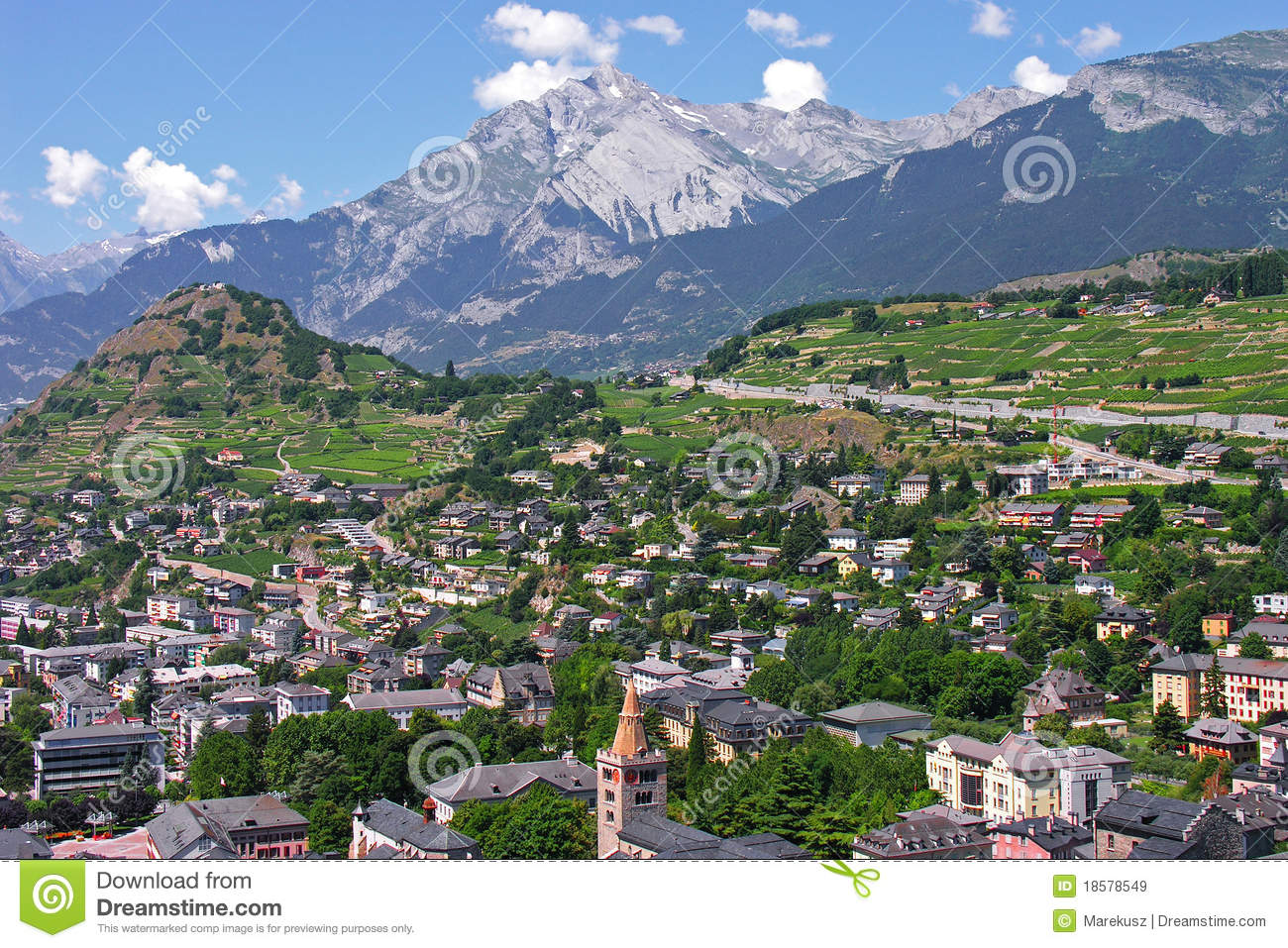 Sion City Capital Of The Canton Of Valais Stock Image Image of