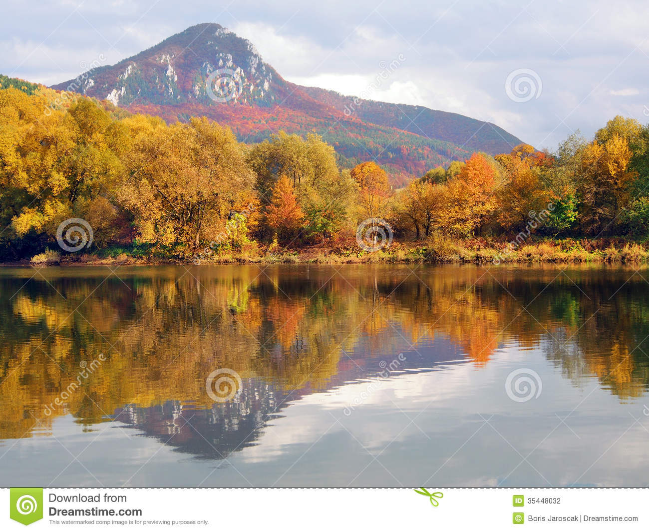 Sip hill and Vah river in autumn