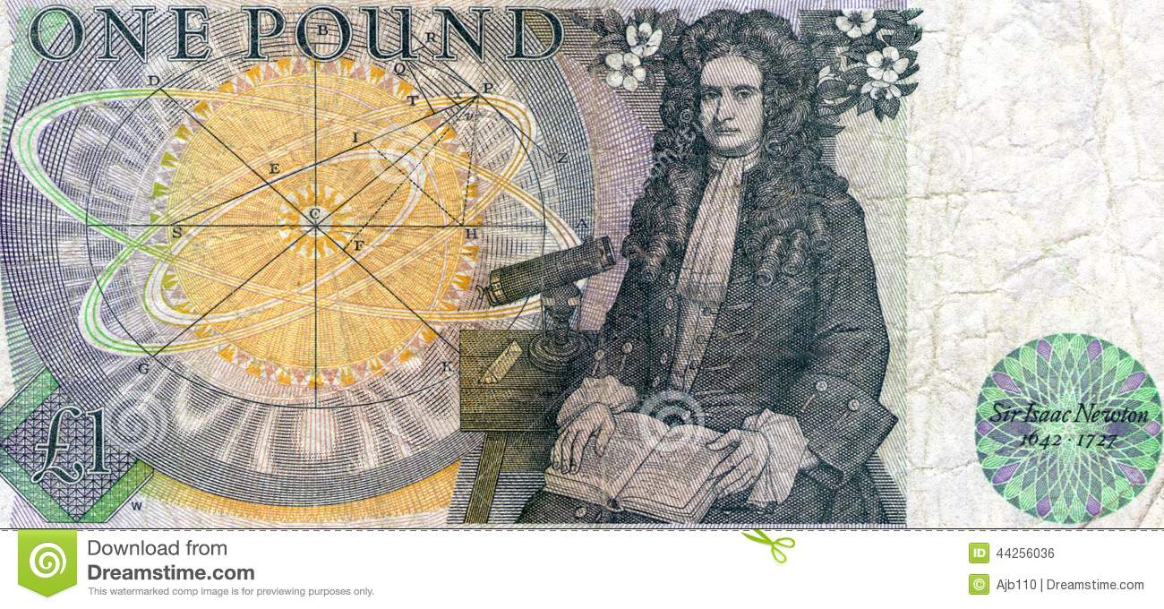 Sir isaac newton on the back of an old british one pound note