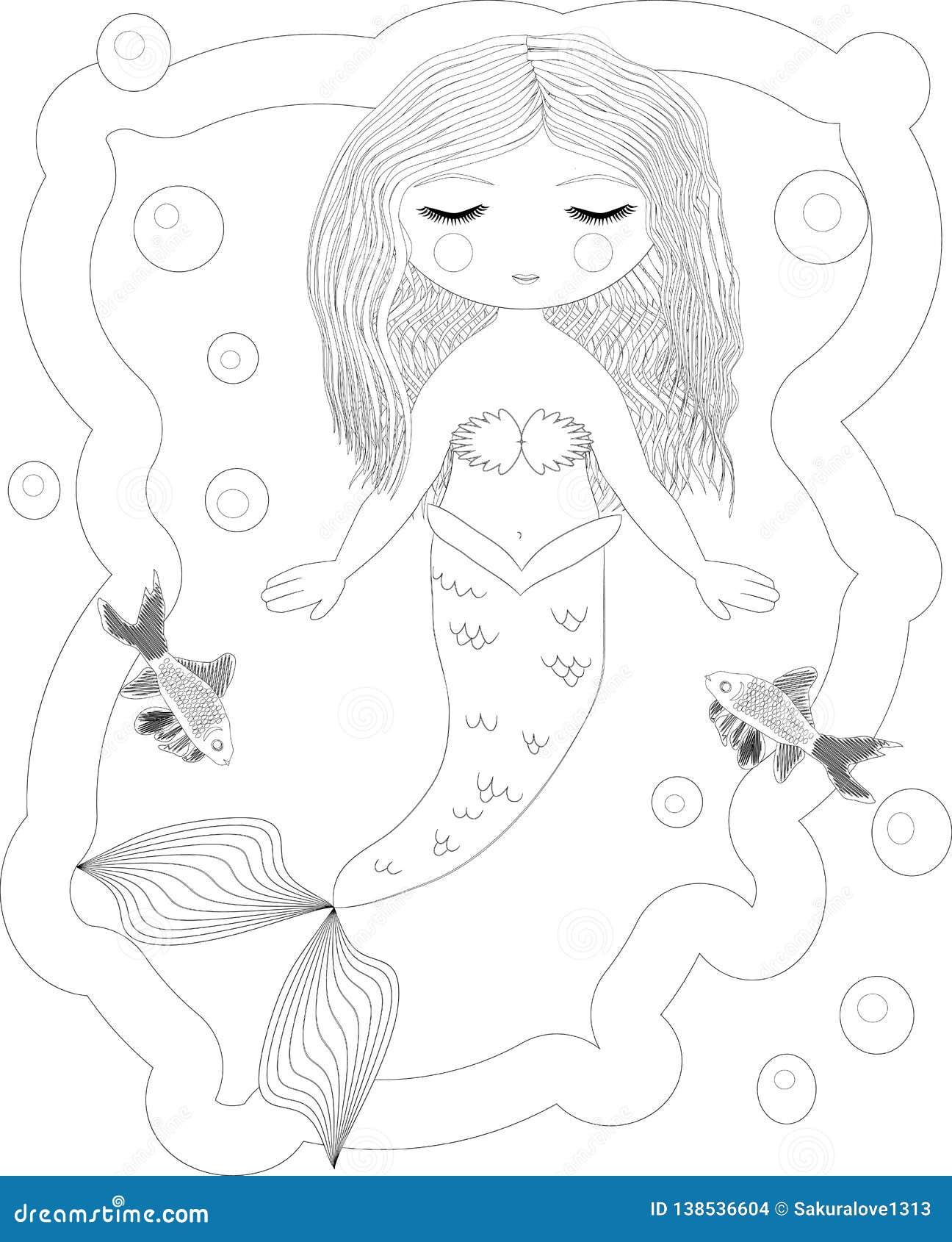 Sirena Bella Mondo Subacqueo Anti Libro Da Colorare Di Sforzo Per L Adulto Pagina Di Coloritura Del Disegno Di Profilo In Bianco Illustrazione Di Stock Illustrazione Di Nero Fantasia 138536604