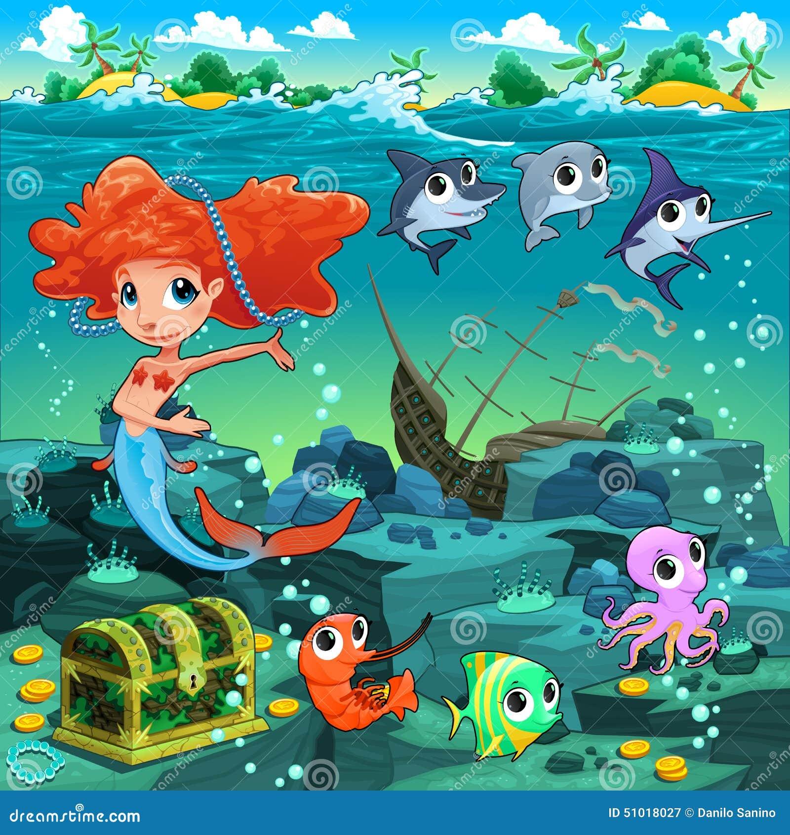 Sirena con los animales divertidos en el fondo marino