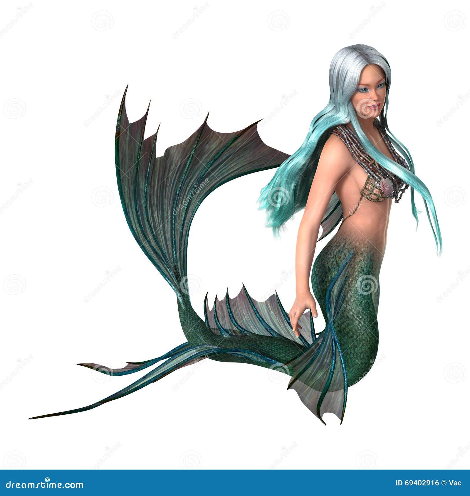 Sirena de la fantasía del ejemplo 3D en blanco