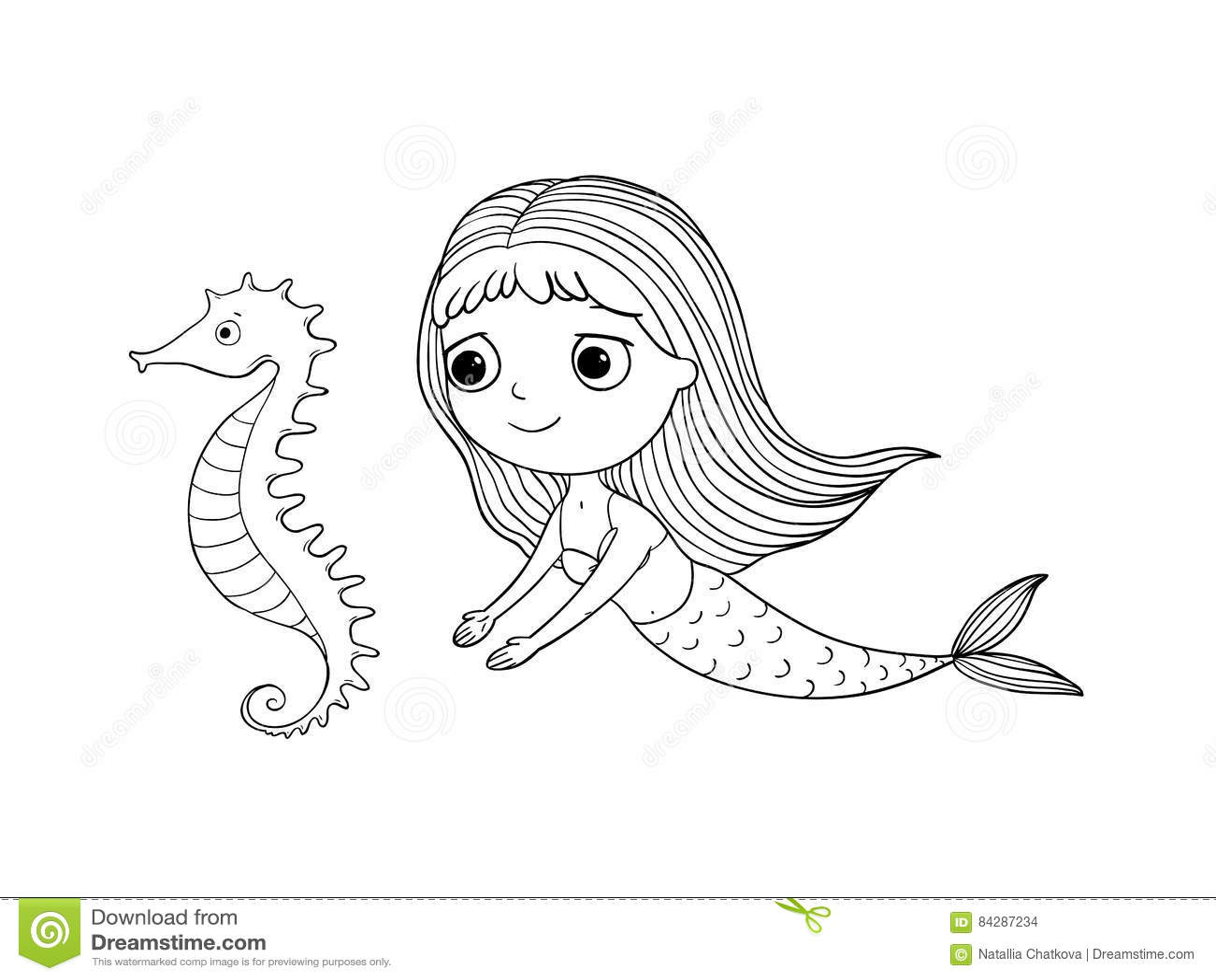 Sirena E Cavalluccio Marino Svegli Del Fumetto Sirena Tema Del Mare