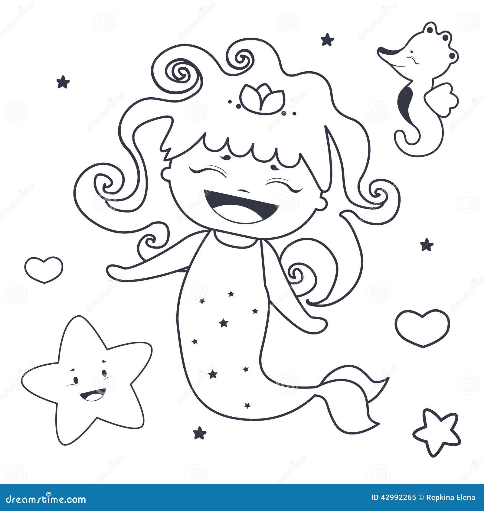 Sirena e libro da colorare adorabili degli amici - Sirena libro da colorare ...