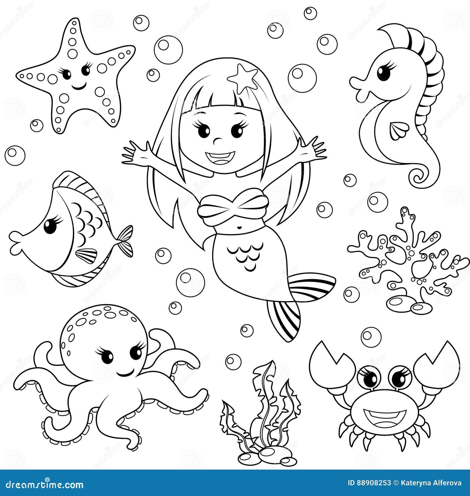 Sirena ed animali di mare pesce stella marina polipo - Sirena libro da colorare ...