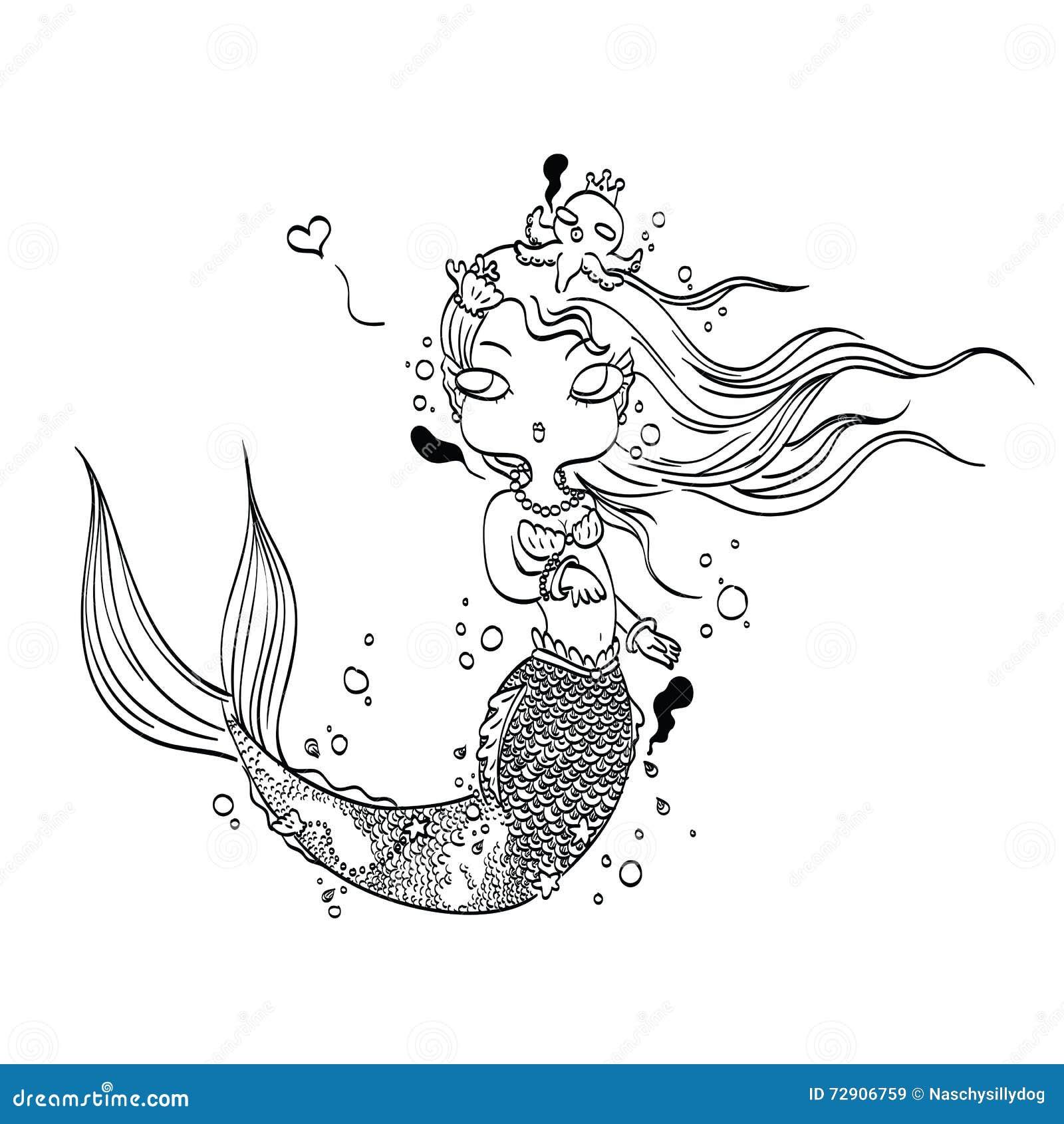 Sirena Preciosa Para Colorear Ilustración del Vector - Ilustración ...