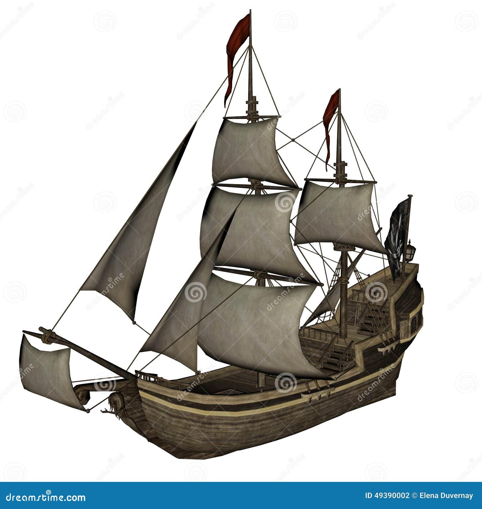 Sirena Smirking, Un Barco Pirata - 3D Rinden Stock de ilustración ...