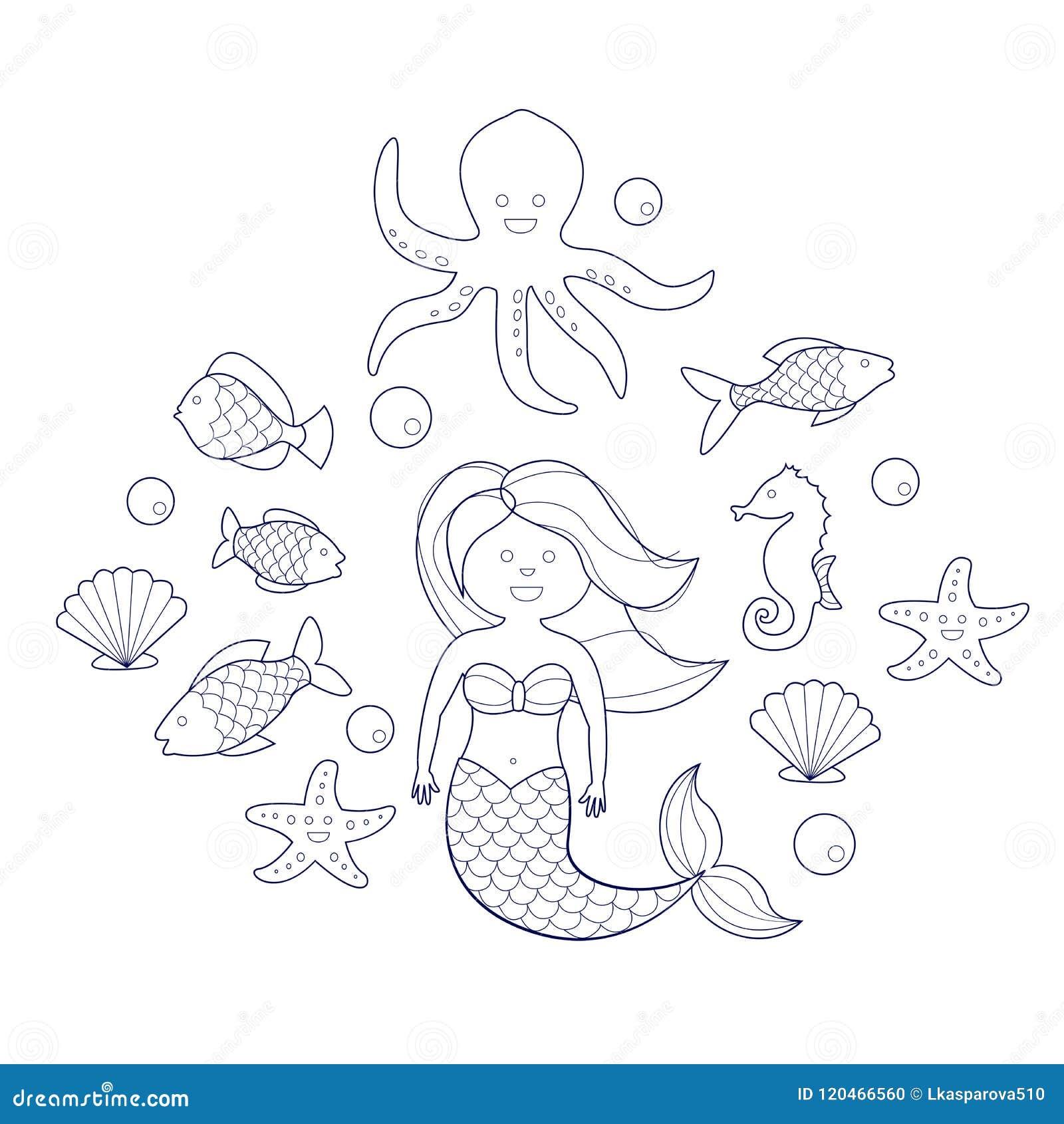 Sirena Y Animales De Mar, Libro De Colorear Para Los Niños ...