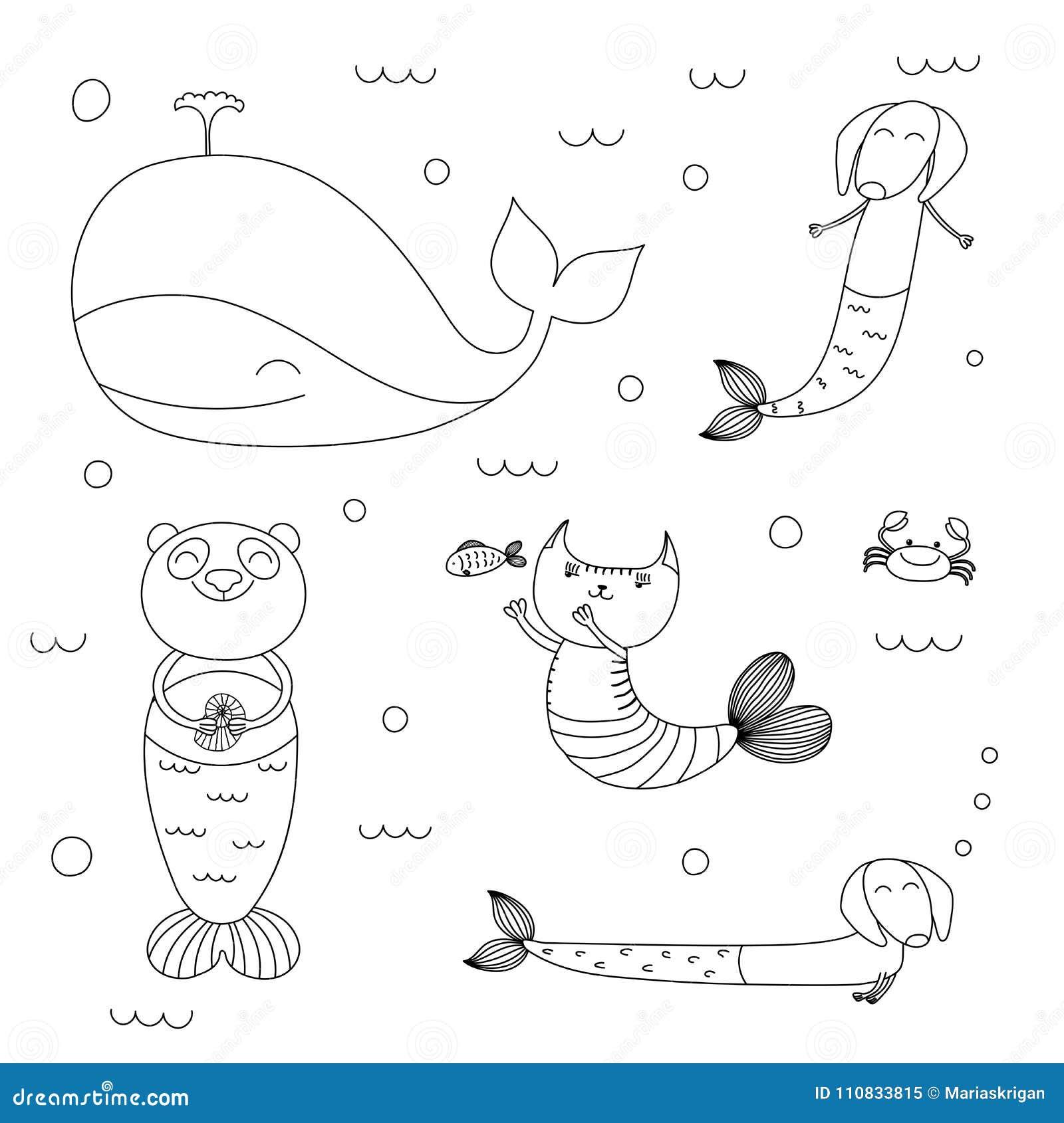 Fantástico Linda Coloración De Sirena Patrón - Dibujos Para Colorear ...