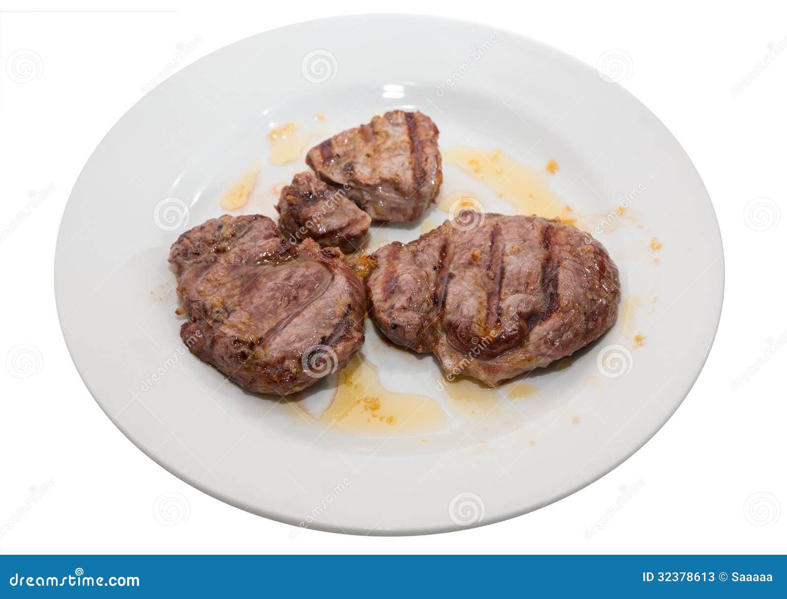 Sirloin steak on white...