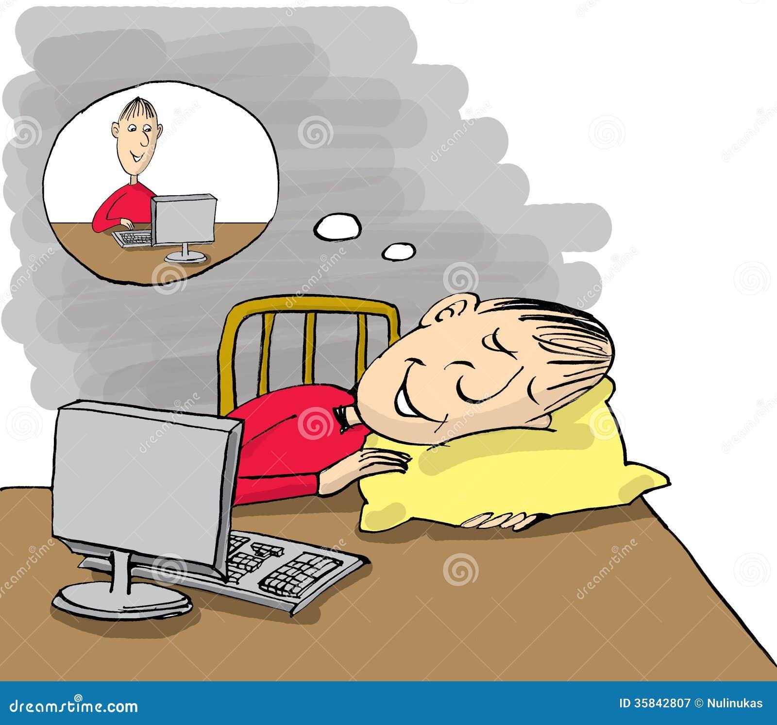 Sirva dormir en la tabla de trabajo pero el sueño sobre trabajo